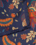 Amanda Christensen Silk Twill Printed Flowers Pocket Square Navy