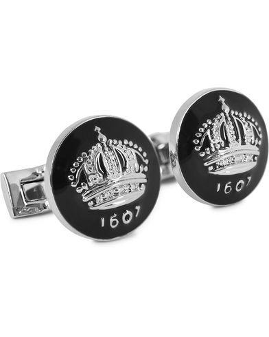 Skultuna Cuff Links The Crown Silver/Baroque Black  i gruppen Accessoarer / Manschettknappar hos Care of Carl (10533010)