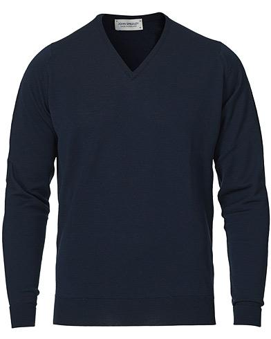 John Smedley Bobby Extra Fine Merino V-Neck Pullover Midnight