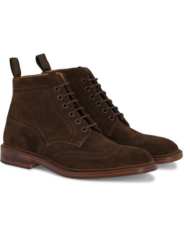 Loake 1880 Burford Brogue Boot Brown Suede i gruppen Skor / Kängor / Snörkängor hos Care of Carl (11584011r)