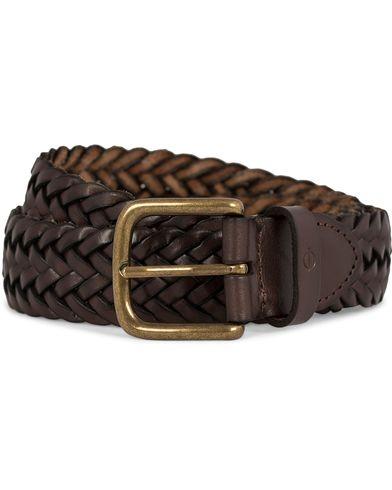 Oscar Jacobson Braided Leather Belt 3,5 cm Dark Brown