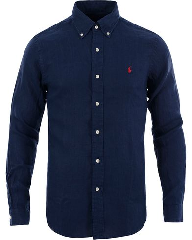 polo ralph lauren slim fit linen shirt newport navy hos careofcar. Black Bedroom Furniture Sets. Home Design Ideas