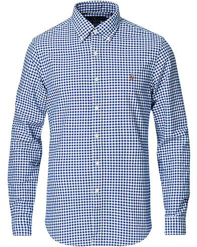 Polo Ralph Lauren Slim Fit Shirt Oxford Blue/White Gingham i gruppen Samtida klassiker / Buttondown-skjortor hos Care of Carl (11947311r)