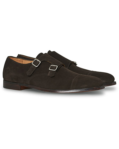 Crockett & Jones Lowndes Monkstrap Dark Brown Suede i gruppen Skor / Munkskor hos Care of Carl (12050011r)