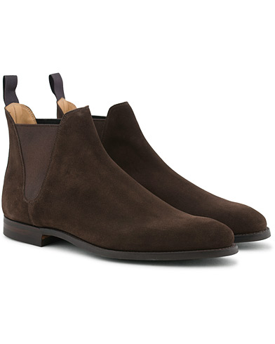 Crockett & Jones Chelsea 8 Boot Dark Brown Suede i gruppen Skor / Kängor hos Care of Carl (12051011r)