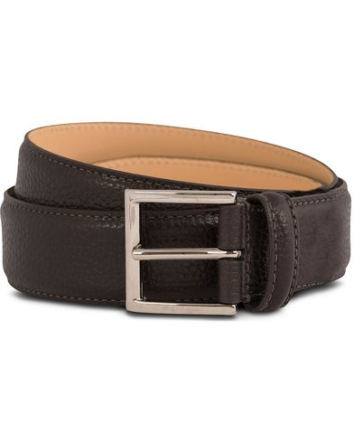 Crockett & Jones Belt 3,5 cm Dark Brown Grained Calf i gruppen Accessoarer / Bälten / Släta bälten hos Care of Carl (12051411r)