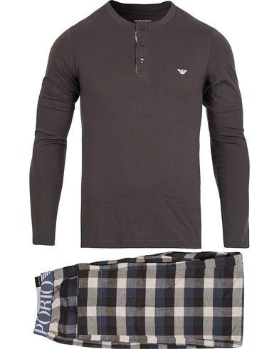 Emporio Armani Flannel Pyjama Set Asphalt Grey Check i gruppen Kläder    Pyjamas   Morgonrockar d99e685a640c0