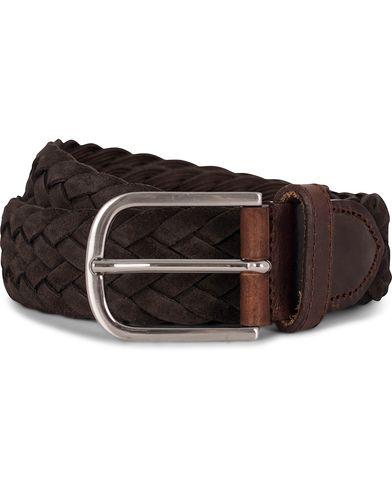 Morris Heritage Braided Suede 4 cm Belt Dark Brown