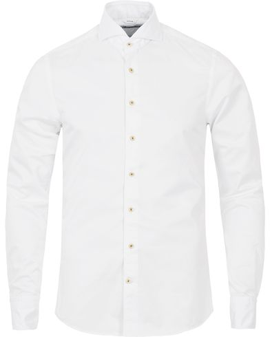 Stenströms Slimline Washed Cotton Plain Shirt White i gruppen Kläder / Skjortor / Casual / Casualskjortor hos Care of Carl (12291311r)
