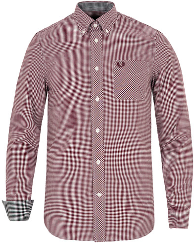 Fred Perry Classic Fit Gingham Shirt Mahogany