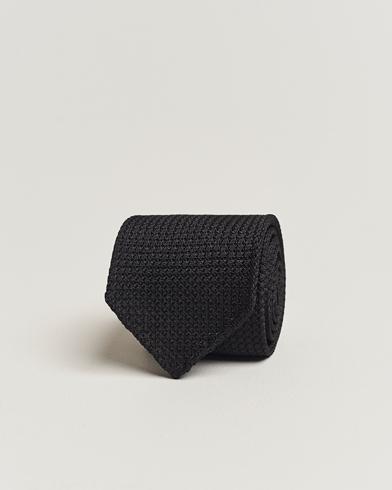 Drake's Silk Grenadine Handrolled 8 cm Tie Black