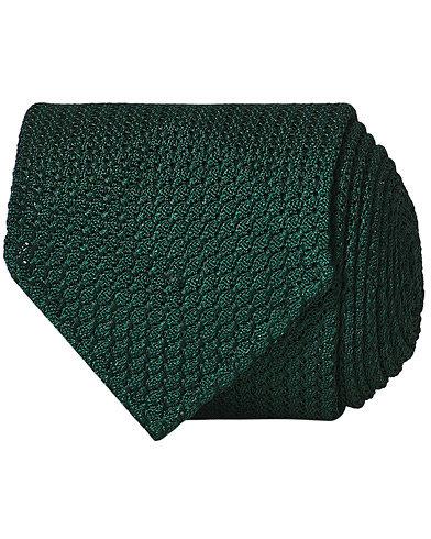 Drake's Silk Grenadine Handrolled 8 cm Tie Green  i gruppen Accessoarer / Slipsar hos Care of Carl (13083910)