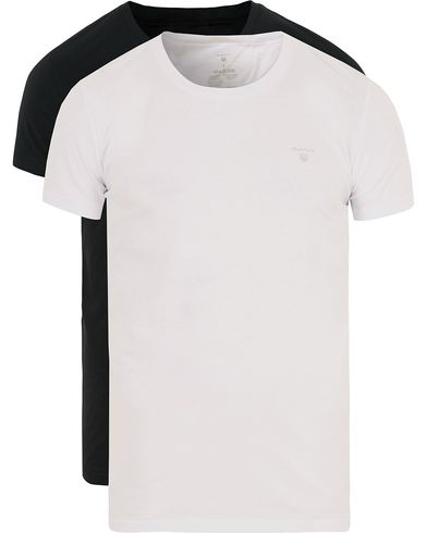 GANT 2-Pack Cotton Crew Neck Tee Black/White i gruppen Kläder / T-Shirts / Kortärmade t-shirts hos Care of Carl (13167011r)