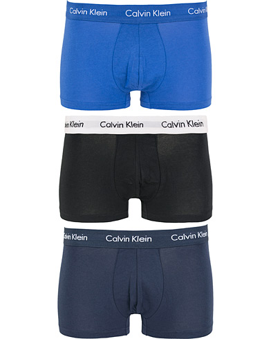 Calvin Klein Cotton Stretch Trunk 3-pack Blue/Black/Cobolt i gruppen Kläder / Underkläder / Kalsonger / Boxershorts hos Care of Carl (13261711r)