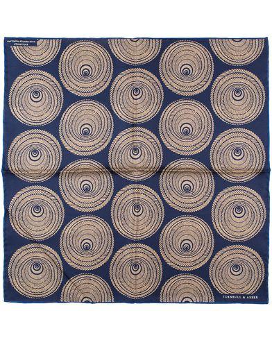Turnbull & Asser Wheel Spiral Pocket Square Navy