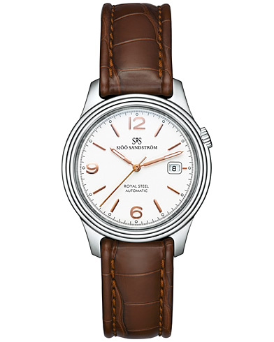 Sjöö Sandström Royal Steel Classic Ivory with Brown Alligator 41 mm