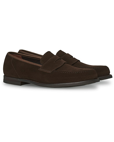 Crockett & Jones Harvard City Sole Dark Brown Suede i gruppen Skor / Loafers hos Care of Carl (13780411r)