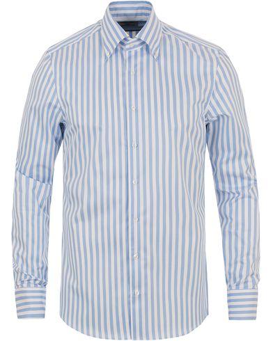 Stenströms Slimline Button Down Stripe Shirt White/blue