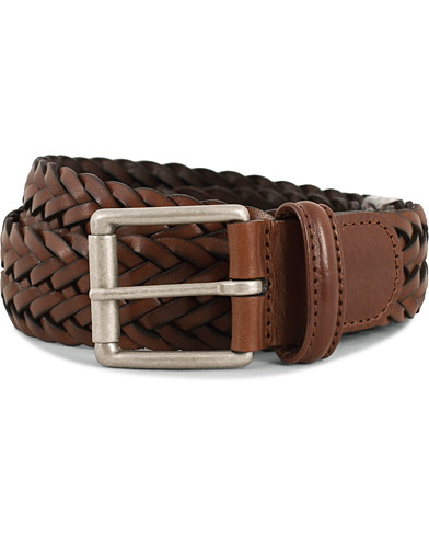 Anderson's Woven Leather 3,5 cm Belt Tanned Brown i gruppen Accessoarer / Bälten / Flätade bälten hos Care of Carl (13782211r)