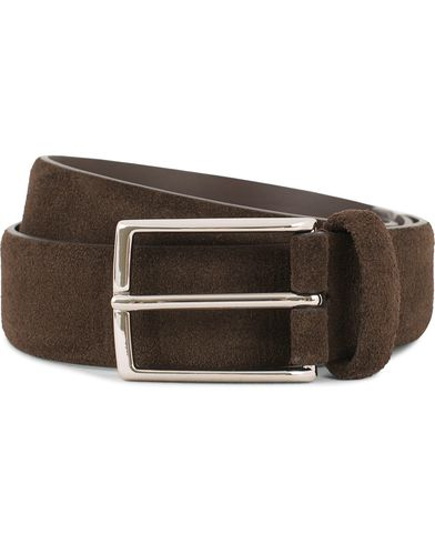 Anderson's Calf Suede 3,5 cm Belt Dark Brown