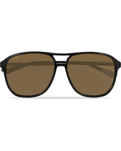 Gucci GG0016S Sunglasses Black/Brown  i gruppen Accessoarer / Solglasögon / Pilotsolglasögon hos Care of Carl (13793610)