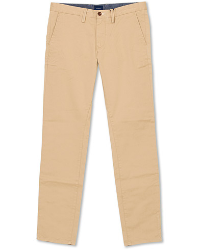 GANT Slim Twill Chino Dark Khaki i gruppen Kläder / Byxor / Chinos hos Care of Carl (14232811r)