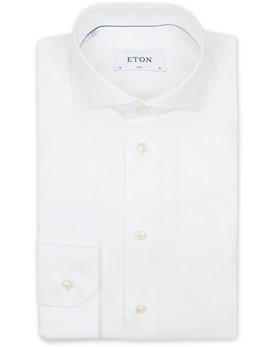 Eton Slim Fit Twill Cut Away Shirt White i gruppen Kläder / Skjortor / Formella / Businesskjortor hos Care of Carl (14331111r)