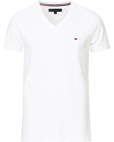 Tommy Hilfiger Slim Fit Stretch V-Neck Tee Bright White i gruppen Kläder / T-Shirts / Kortärmade t-shirts hos Care of Carl (14338611r)