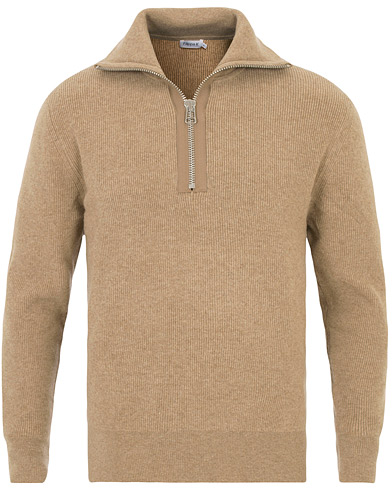 filippa k half zip ribbed sweater greige melange