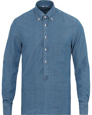 Stenströms Slimline Chambray Popover Shirt Light Blue