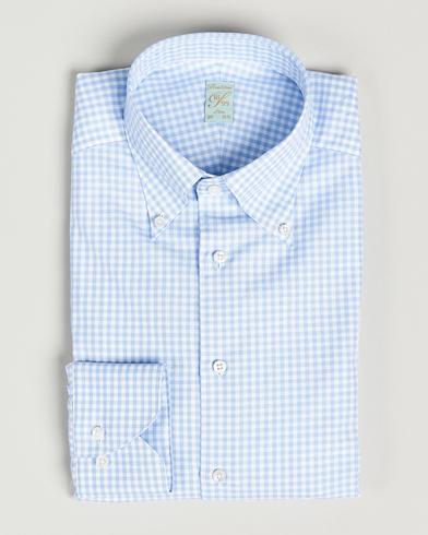 Stenströms 1899 Slimline Button Down Check Shirt White/Blue