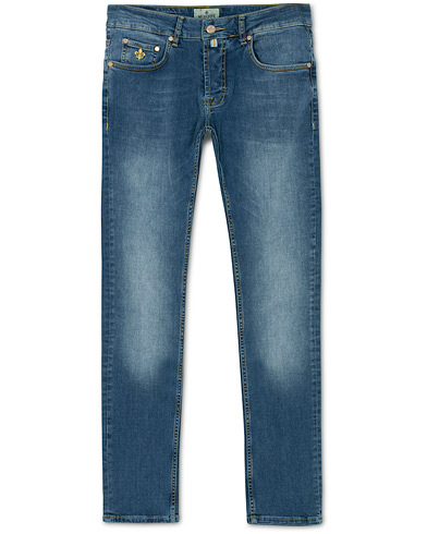 Morris Steeve Satin Stretch Jeans Semi Dark Wash i gruppen Kläder / Jeans / Smala jeans hos Care of Carl (14680111r)