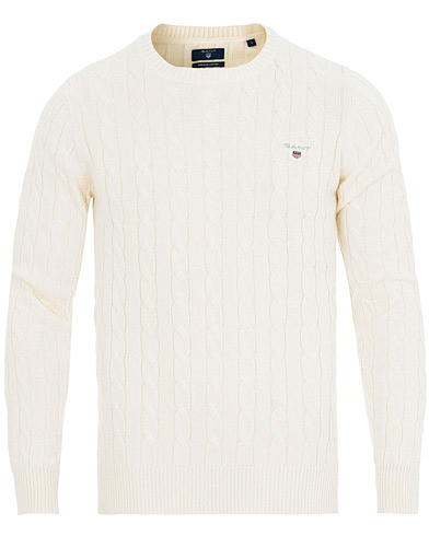 GANT Cotton Cable Crew Neck Pullover Cream i gruppen Kläder / Tröjor / Stickade tröjor hos Care of Carl (14699411r)