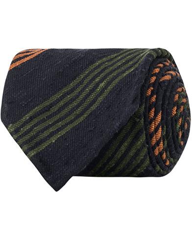 Drake's Woven Jaqtang Stripe 8 cm Tie Navy