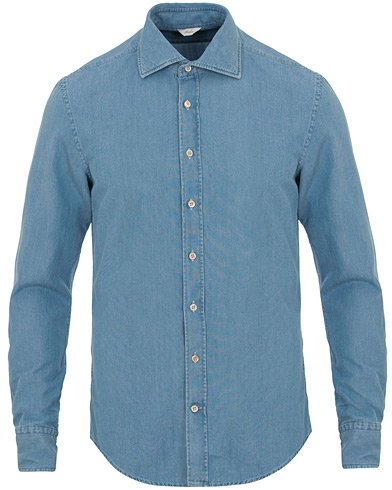 Stenströms Slimline Garment Washed Shirt Light Denim i gruppen Kläder / Skjortor / Casual / Jeansskjortor hos Care of Carl (14753211r)