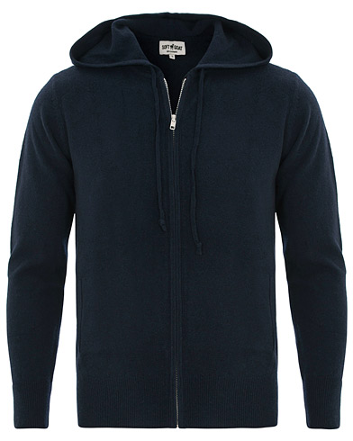 Soft Goat Cashmere Full Zip Hoodie Navy i gruppen Kläder / Tröjor / Huvtröjor hos Care of Carl (14875311r)