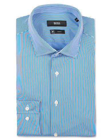 BOSS Jenno Slim Fit Super Stretch Shirt White/Blue i gruppen Kläder / Skjortor / Formella / Businesskjortor hos Care of Carl (14890311r)