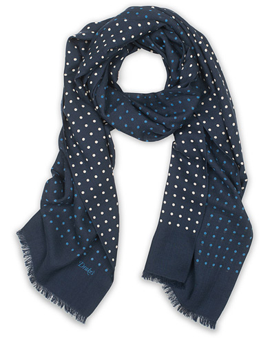 Drake's Wool/Silk Classic Spot Scarf Navy/White/Blue  i gruppen Accessoarer / Scarves hos Care of Carl (14956810)