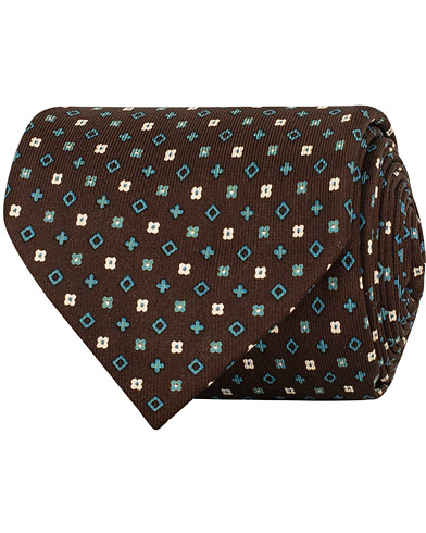 E. Marinella 7-Fold Printed Micro Pattern Silk Tie Brown/Teal 8 cm