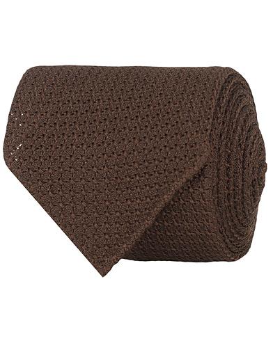 Drake's Silk Grenadine 8 cm Tie Brown