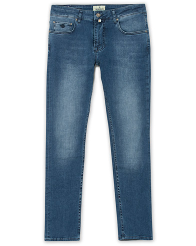 Morris Steve Satin Stretch Jeans Blue i gruppen Kläder / Jeans / Smala jeans hos Care of Carl (15063911r)