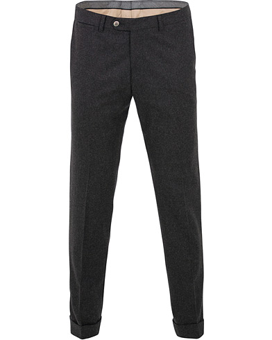 Oscar Jacobson Dean Turn Up Flannel Trousers Charcoal i gruppen Kläder / Byxor / Flanellbyxor hos Care of Carl (15069411r)