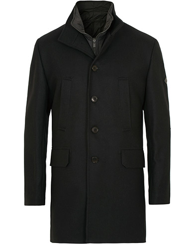 J.Lindeberg Gavin Stand Up Collar Compact Melton Coat Black i gruppen Kläder / Jackor / Rockar hos Care of Carl (15118711r)