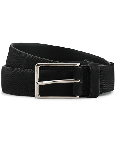 Oscar Jacobson Leather Belt Black i gruppen Accessoarer / Bälten / Släta bälten hos Care of Carl (15125811r)