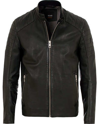 BOSS Casual Jaysee Biker Leather Jacket Black i gruppen Kläder / Jackor / Skinnjackor hos Care of Carl (15154011r)