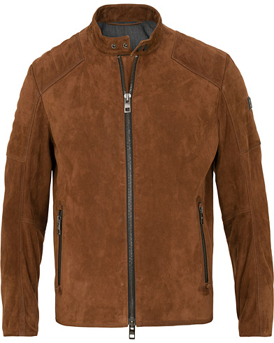 BOSS Casual Jaydee Biker Jacket Dark Brown Suede i gruppen Kläder / Jackor / Skinnjackor hos Care of Carl (15154211r)