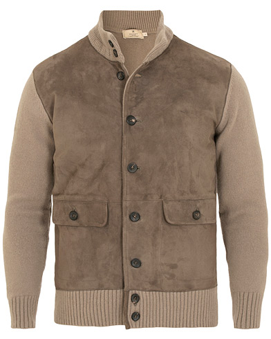 Hackett Mayfair Suede Jacket Stone i gruppen Kläder / Jackor / Skinnjackor hos Care of Carl (15196811r)