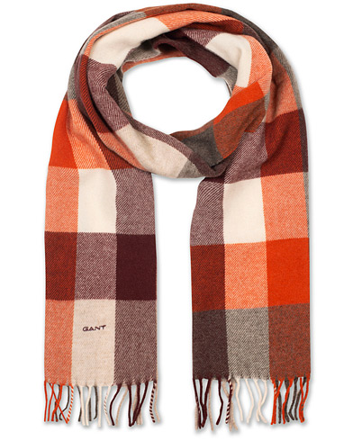 GANT Multi Check Wool Scarf Burnt Ochre  i gruppen Accessoarer / Halsdukar hos Care of Carl (15216210)