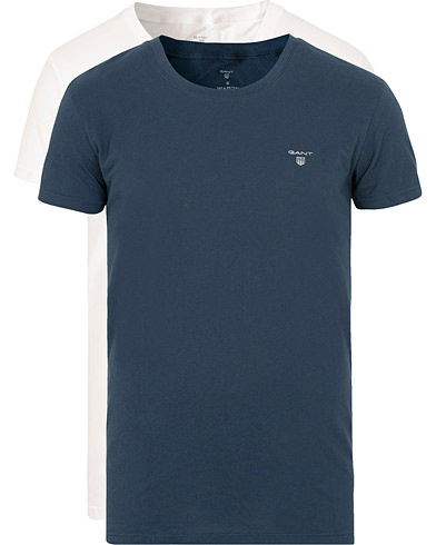 GANT 2-Pack Crew Neck Tee White/Navy i gruppen Kläder / T-Shirts / Kortärmade t-shirts hos Care of Carl (15217811r)