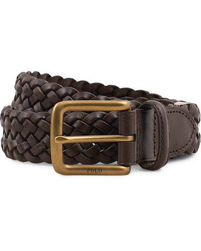 Polo Ralph Lauren Braided Leather Belt Dark Brown i gruppen Accessoarer / Bälten / Flätade bälten hos Care of Carl (15268811r)